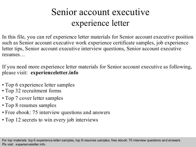 Senior Account Executive Experience Letter