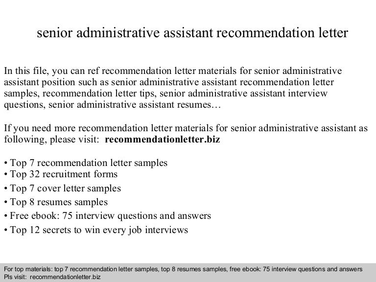 senior administrative assistant recommendation letter