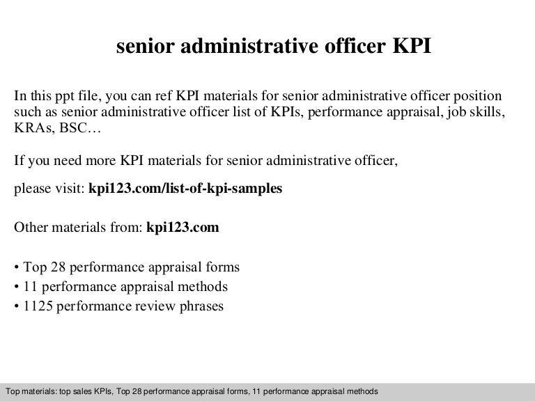 Senior Administrative Officer Kpi