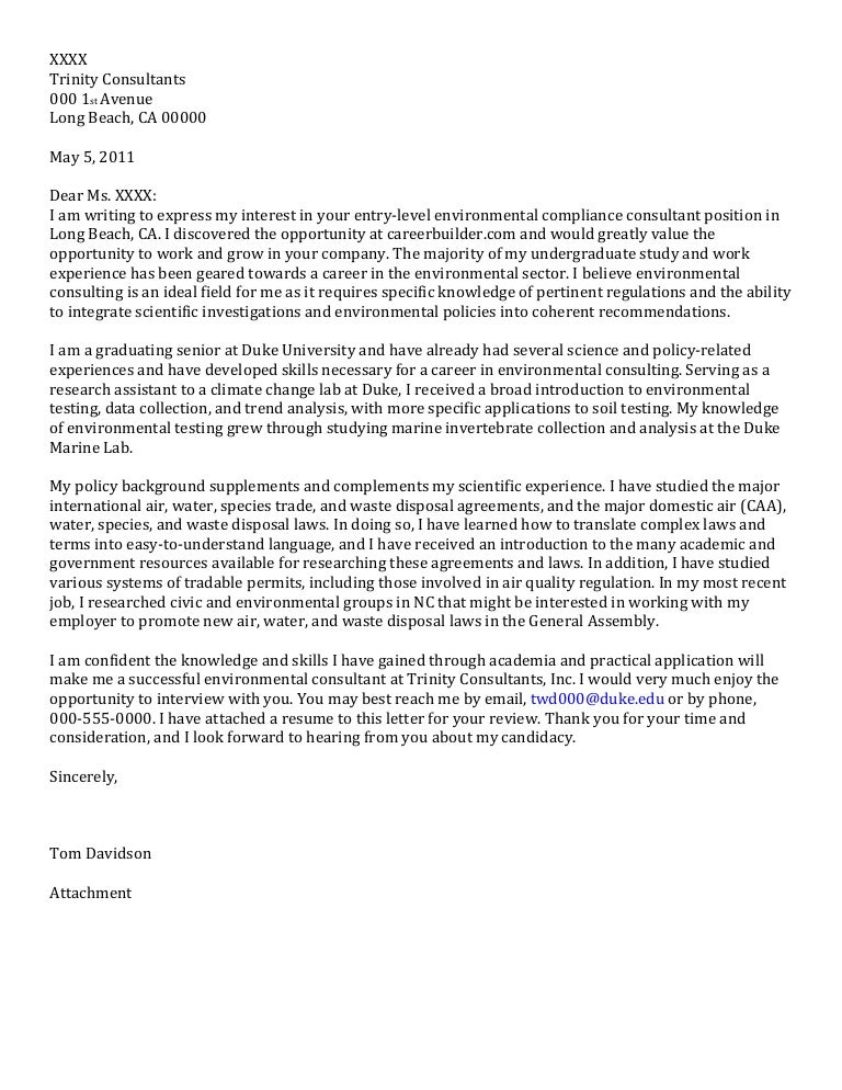 Senior Cover Letter: Consulting