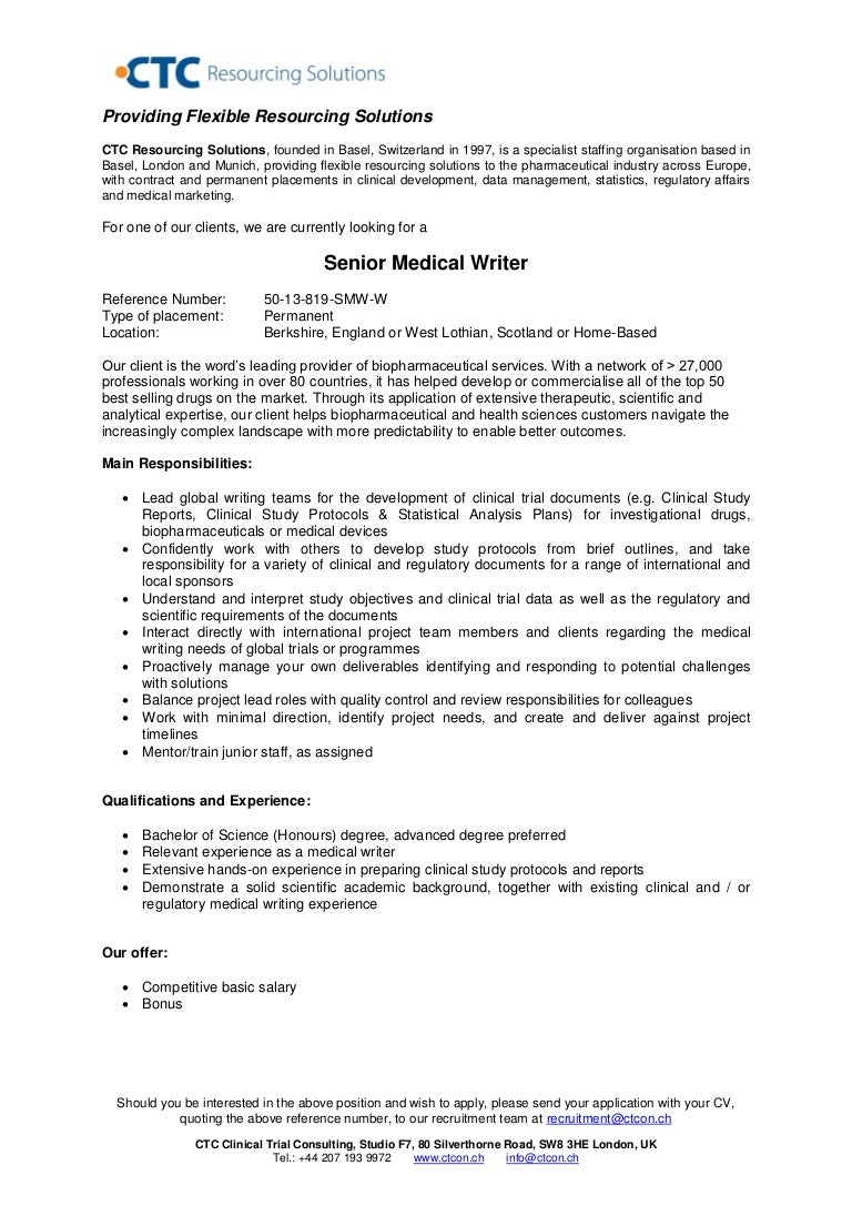 Senior Medical Writer - UK