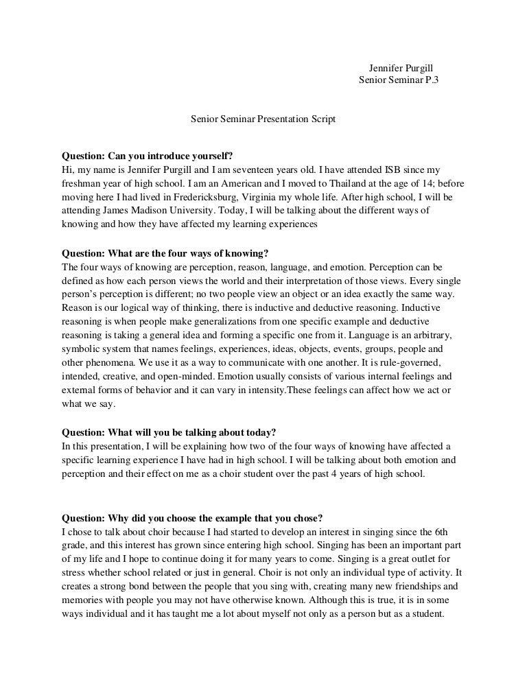 senior seminar presentation script