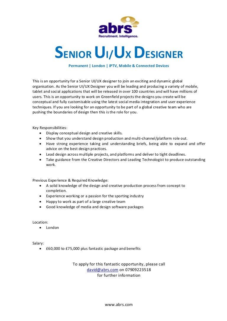 Senior UI UX Designer