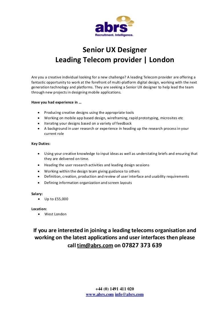Senior Ux Designer Job In London See Tim Abrs
