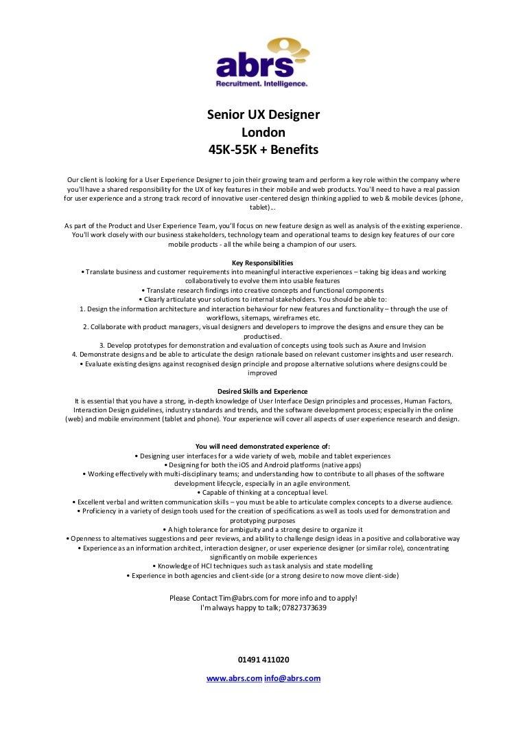 Senior Ux Designer Job In London