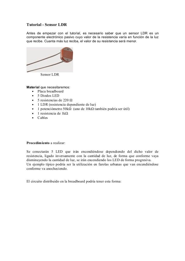 Sensor Ldr Con Arduino Uno Circuito De Luz Com Te1