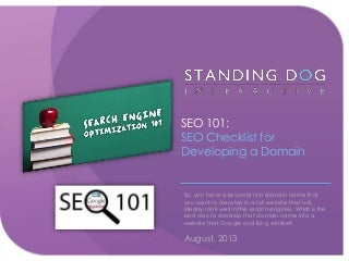 SEO 101: SEO Checklist for Developing a Domain