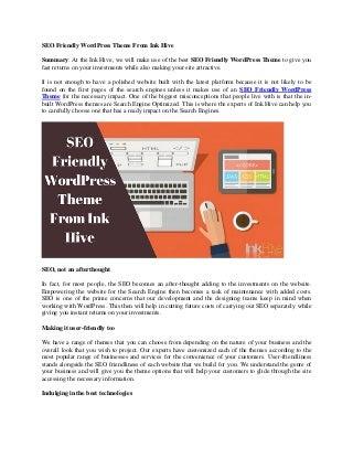 SEO Friendly WordPress Theme From Ink Hive