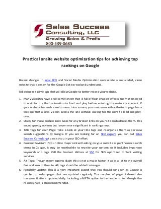 Practical onsite website optimization tips for achieving top rankings on Google