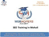 SEO Training in Mohali | Best SEO Training Institute in Mohali Punjab