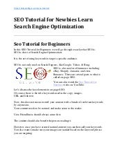 Seo Tutorial for Newbies