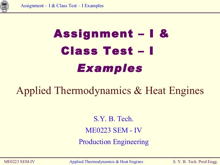 thermodynamics examples and class test