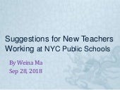 Suggestions for New Teachers