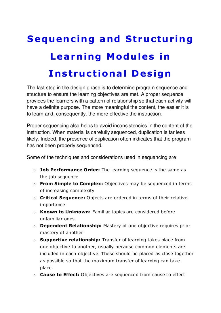 Sequencing And Structuring Learning Modules In Instructional Design