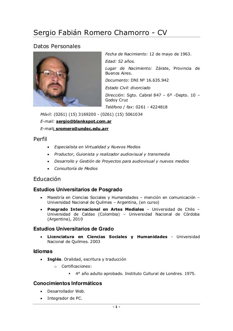Curriculum de Sergio Fabián Romero