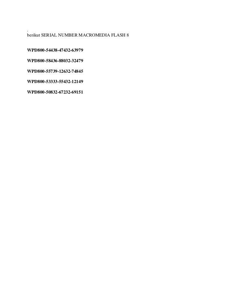 Serial number macromedia flash 8
