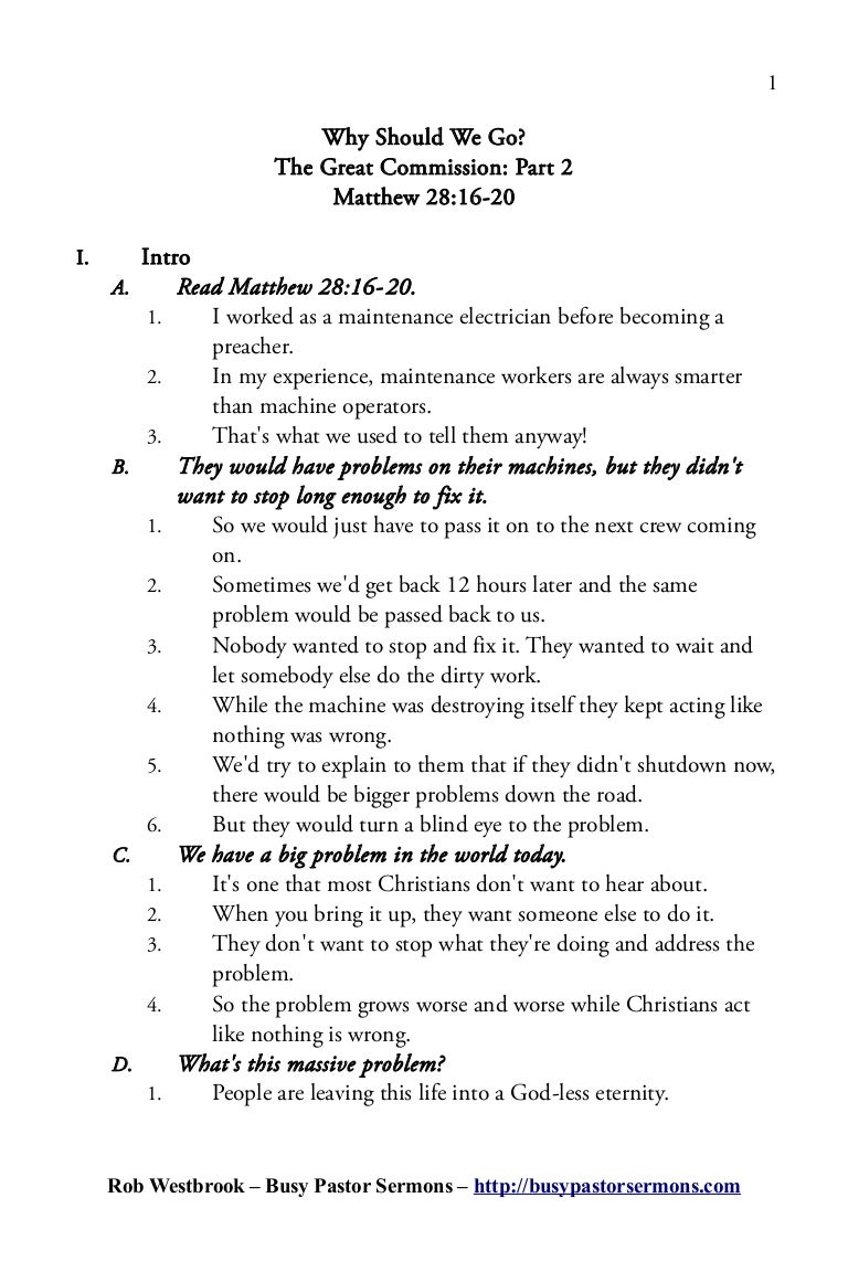 Sermon Outline: Matthew 28:16-20