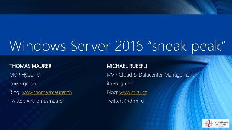 Server 2016 sneak peek