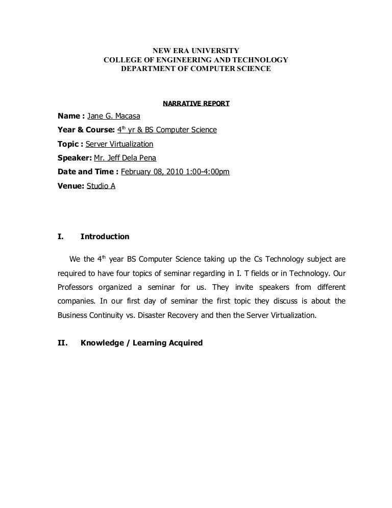 sample narrative report for seminars. Resume Example. Resume CV Cover Letter