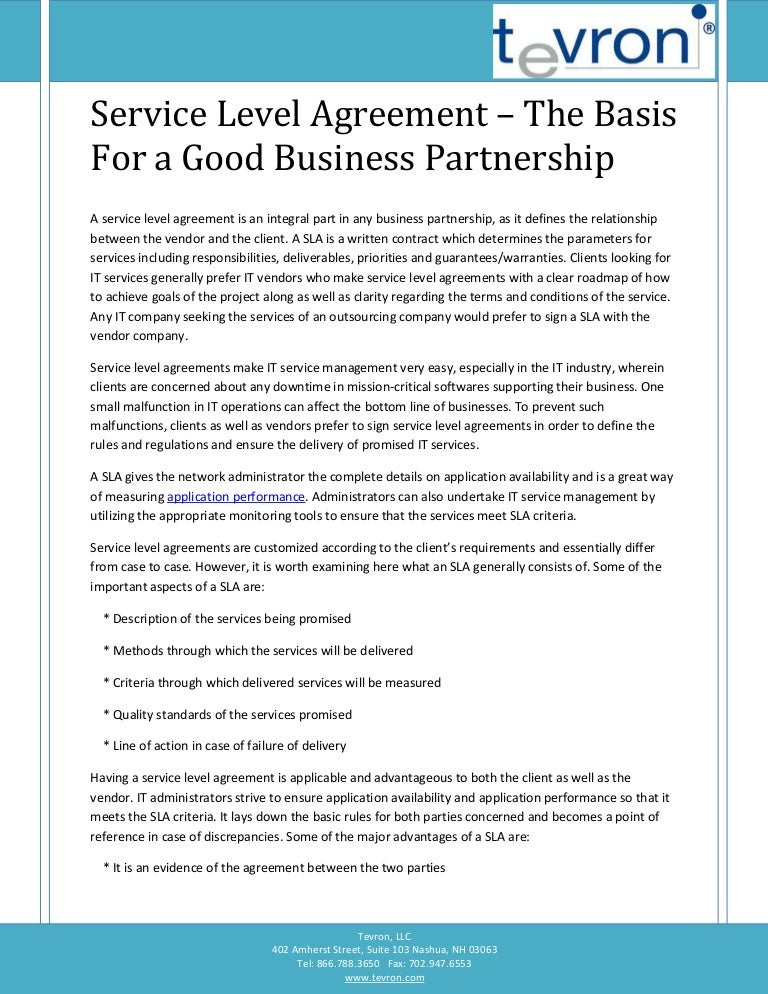 Service Level Agreement - The Basis For A Good Business Partnership