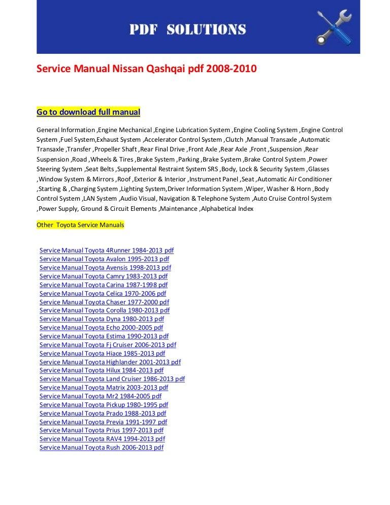 service manual nissan qashqai pdf 2008 2010 rh slideshare net 2018 Toyota Camry 1999 Toyota Camry
