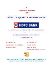 Service quality of hdfc bank""