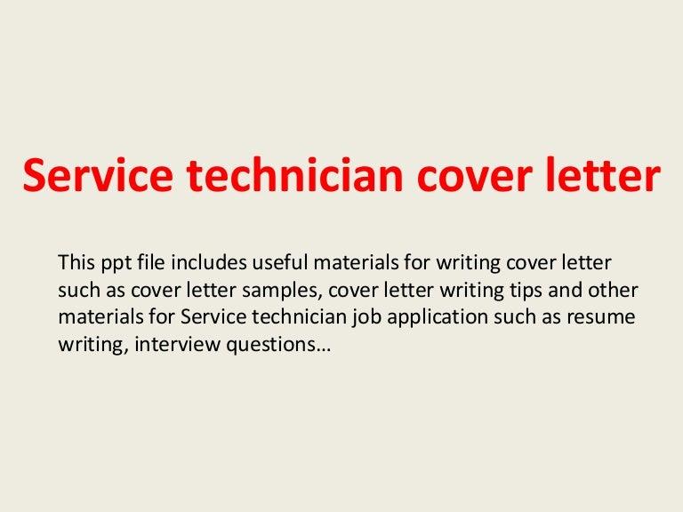 service technician cover letters