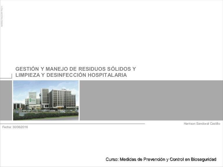 Sesión 1.4. manejo de residuos - limpieza hospitalaria