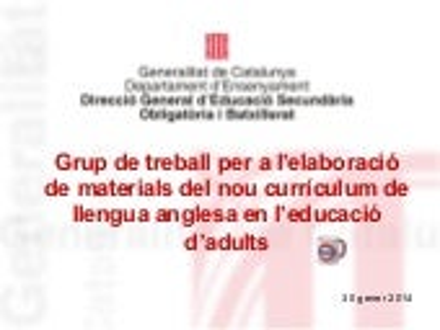 sessió 1 grup de treball per a l'elaboració de materials llengua anglesa educació d'adults