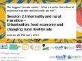 Informality and rural transition – urbanisation, food economy and changing rural livelihoods