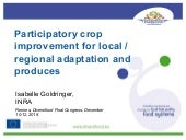 DIVERSIFOOD Final Congress - Session 3 - New approaches of plant breeding for diversified and sustainable farming systems -  Isabelle Goldringer