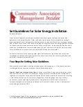 Set Guidelines for Solar Energy Installation