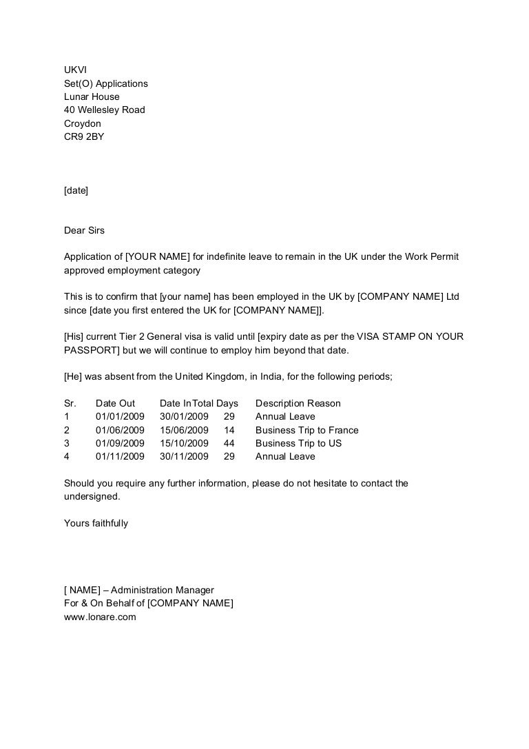 Set O Ilr Application Employment Letter Sample