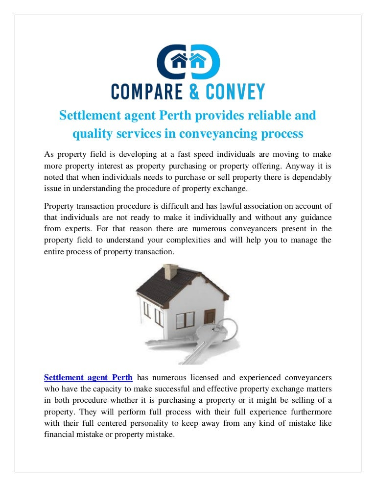Settlement agent Perth provides reliable and quality