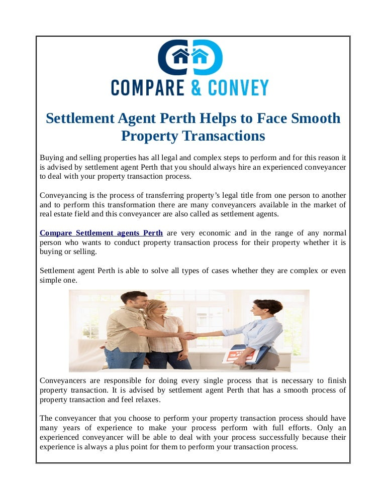 Settlement agent perth helps to face smooth property