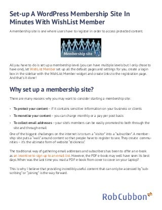 Set up a membership site with word press and wishlist member