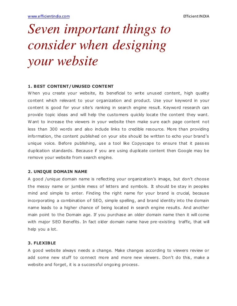Seven Important Things To Consider When Designing Your Website