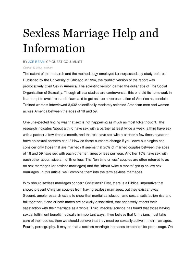 How many sexless marriages end in divorce