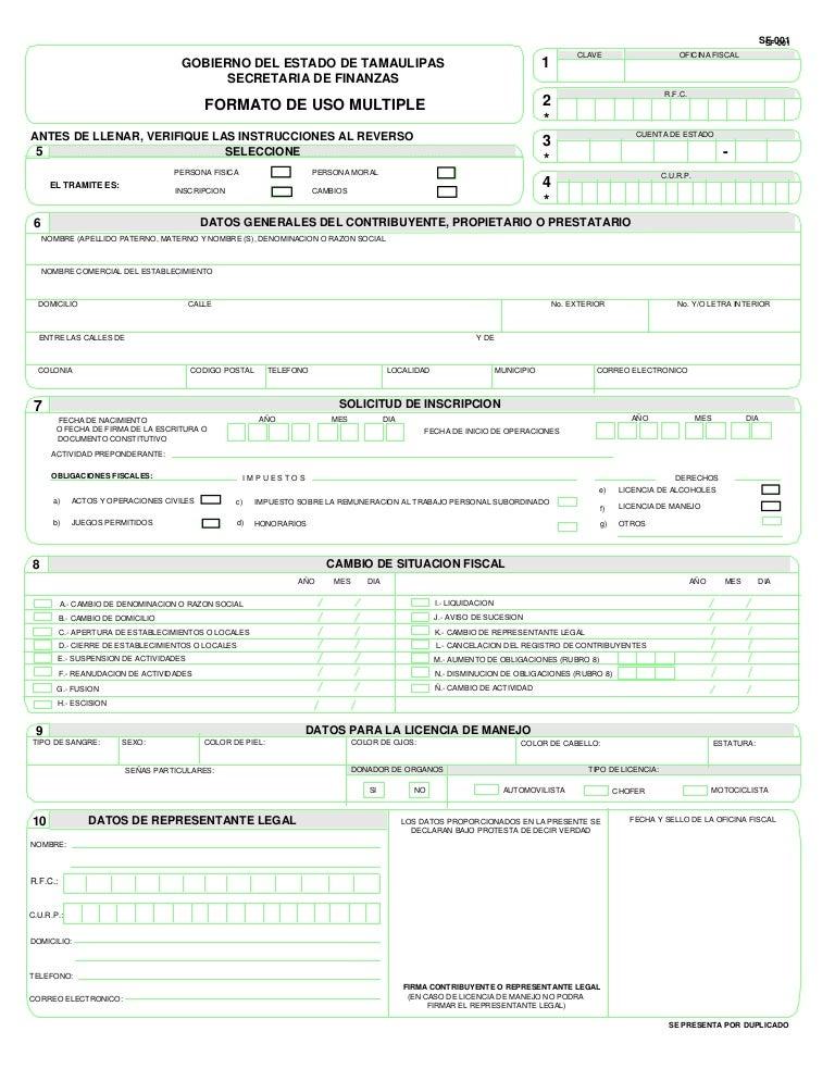 Sf001 formato de uso multiple llenable