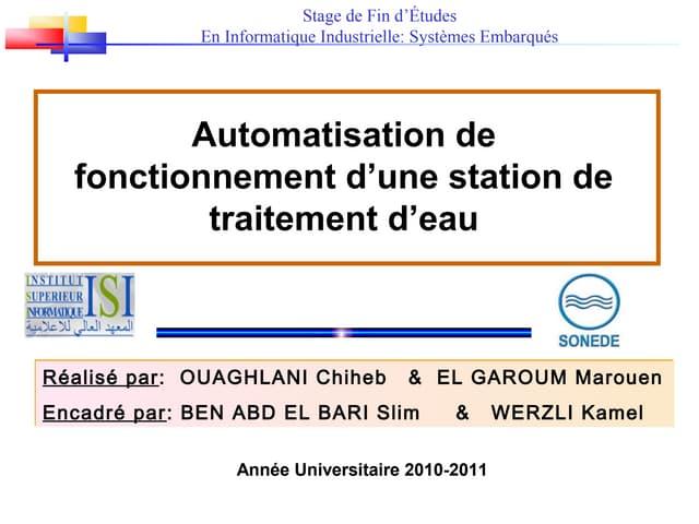 Automatisation de fonctionnement d'une station de traitement d'eau