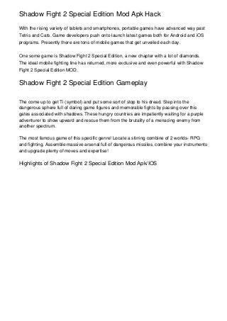 Shadow Fight 2 Special Edition Mod Apk Hack