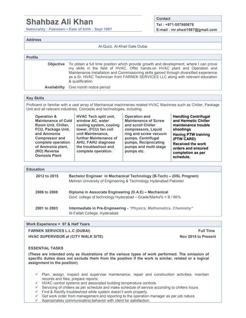 Hvac supervisor performance appraisal