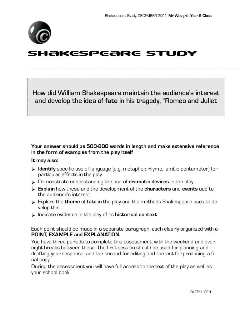 Shakespeares Romeo And Juliet Essay Question  Www Oppapers Com Essays also Essays On Business Ethics  How To Write An Essay Proposal