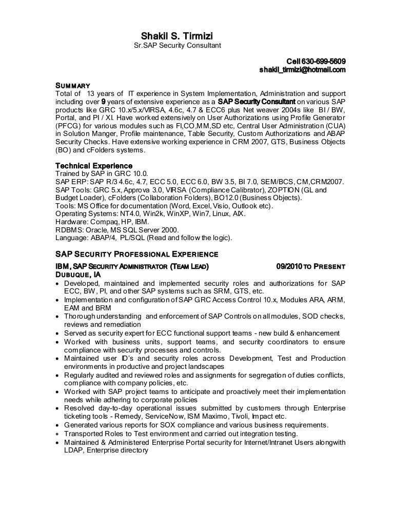 Shakil Sap Security Resume