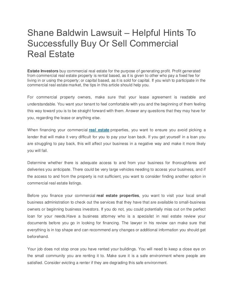 Shane Baldwin Lawsuit Helpful Hints To Successfully Buy Or Sell Com