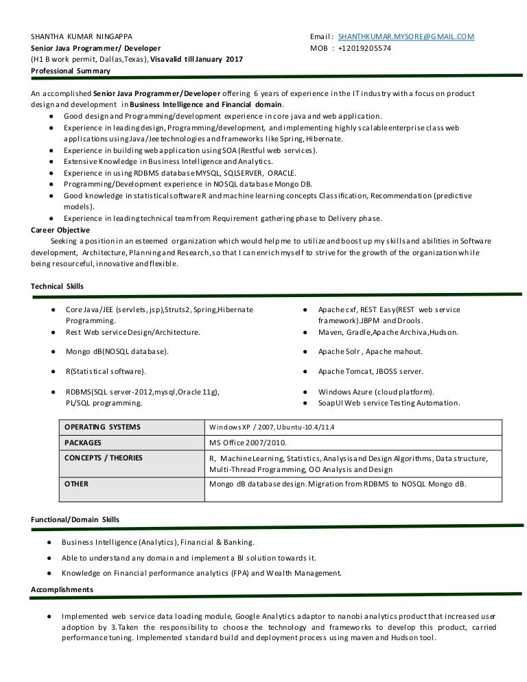 shanthkumar 6yrs java analytics resume - Restful Web Services Resume