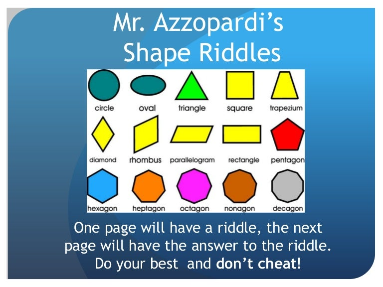 Shapes riddles grade 2