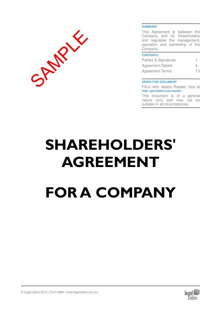 Shareholders Agreement For An Australian Company Template
