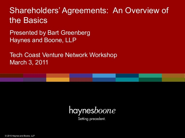 Shareholders Agreements An Overview Of The Basics