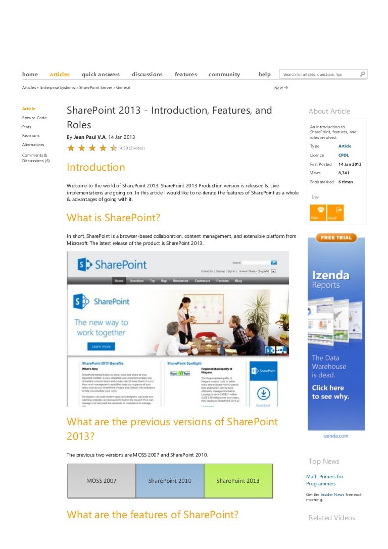 Share point 2013: introduction, features, and roles